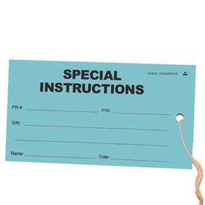 16104-TAG, ESD, SPECIAL INSTRUCTION, 2.75'' x 5'', PK OF 100, GREEN