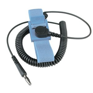 22315-WRIST STRAP, WESCORP, BLUE, ADJUSTABLE, 6 FT CORD, 4MM