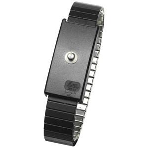 95007-WRISTBAND, METAL, ADJ, XL, BLACK, 4MM SNAP