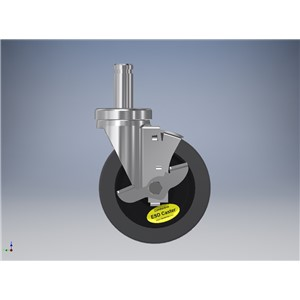 WCG5X125SB-5''x1-1/4'' GRAY ESD WHEEL,  SWIVEL CASTER ASSEMBLY, W/BRAKE