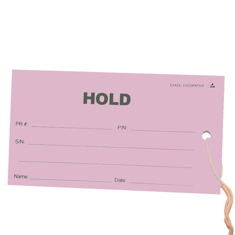 16102-TAG, ESD, HOLD, PINK, 2.75'' x 5'', PACK OF 100
